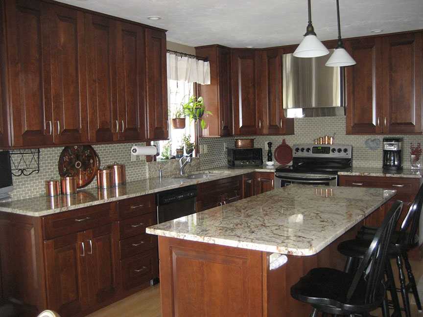 Kitchen remodeling kitchen design worcester central for Dark wood cabinets small kitchen