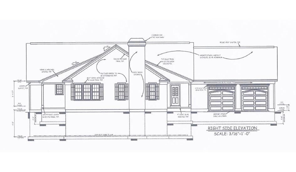 Custom Homes - Side Elevation Design